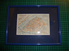 Antique framed matted map Dordrecht Netherlands 1910 carte plan plattegrond
