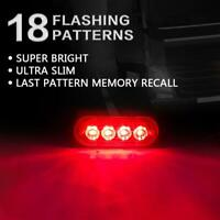 4x 4 LED Red Amber Emergency Car Truck Strobe Flashing Light Warning Grill Lamp