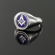 Solid Silver Square and Compass Reversible Swivel Head Masonic Ring- Blue Enamel
