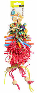Avi One Destructable Toy Raffia Pom Pom With Beads And Ropes Parrot Cockatoo