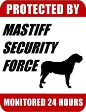 Protected By Mastiff Security Force Monitored 24 Hours Laminated Dog Sign