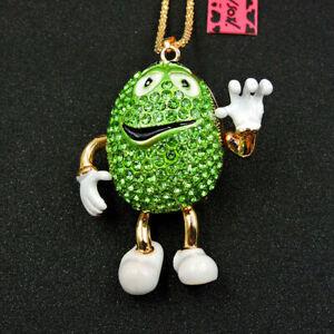 Hot Green Rhinestones Mr. Lovely Chocolate Pendant Betsey Johnson Necklace