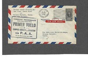 1946 FIRST FLIGHT SAN JOSE,COSTA RICA  TO CORPUS CHRISTI,TX FAM 5