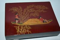 MHN 120 Vintage Vietnam Hand Painted Wooden Lacquer Jewelry Trinket Box