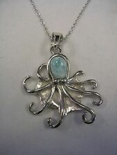 OCTOPUS PENDANT CHARM AND CHAIN  WITH LARIMAR SET IN STERLING SILVER