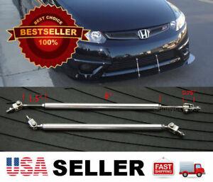 "Silver 8-11"" adjustable Bumper Lip Diffuser splitter extension Rod for Nissan"