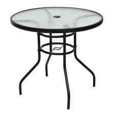 "31.5"" Patio Garden Round Table Tempered Glass Steel Frame with Umbrella Hole US"