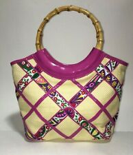 Vera Bradley Purse - Bamboo Handle - Pink and Tan - Size: Medium