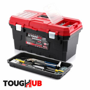 "ToughHub 22"" Craft Tool Storage Box - Lockable DIY Toolbox - Tote Tray - 32"