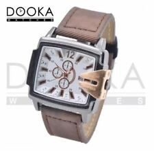 DOOKA BENCHI Men's Military Style Army Leather Strap Rectangular Watch (Brown/Wh