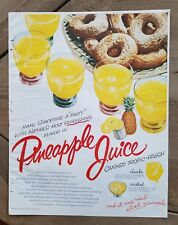 1953 Snacktime party canned pineapple juice Donuts Doughnuts food color AD