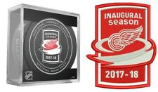 Detroit Red Wings Inaugural Patch & Puck 2017 2018 NHL Season Jersey Puck Design