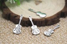 30pcs--Guitar Charms, Silver Tone music instrument Guitars Pendants 27x10mm