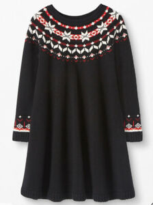 Girls Hanna Andersson Snö Happy Knit Black Sweater Dress 10 NWT Christmas $68