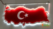 "LED Leuchtschild LKW Trucker Kabine Rückwandschild Gravur ""Türkei Türkiye"""
