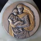 ancien bénitier la vierge et l enfant en bronze argenté et onix ou marbre