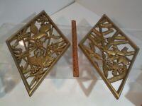 "2 Mid Century Wall Art Syroco Gold Plastic Made USA Diamond Plaques 10.5"" x 17"""