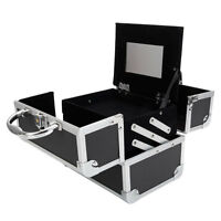 Pro Aluminum Makeup Train Case Jewelry Box Cosmetic Organizer Storage Lock Black