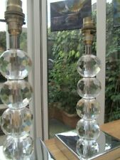PAIR OF CRYSTAL GLASS AND CHROME HEAVY TABLE LAMPS