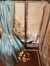 """NEW!Sublime Huge French Damask Blue Pale Gold 115""""D 55""""W Lined Long Bay Curtains"""