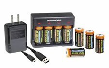 Power2000 CR-123A 8 Pack Rechargeable LiFePO4 Battery & Charger Kit