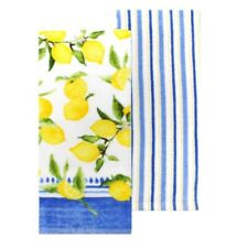 Food Network Set of 2 Kitchen Towels Yellow Lemon Print and Blue Striped NEW