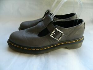 Dr. Martens The Original Polley Gray Leather Mary Jane T-Strap Size L 7 NEW