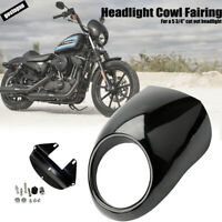 HOT Black Headlight Cowl Fairing Visor Mask For Harley Davidson Sportster Dyna