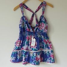 BNWT REPLAY Ladies Beautiful Summer Top, Size M, Purple with Flowers, Brand New!