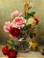 Dream-art oil painting Gustave Bienvetu - A vase of roses flowers hand painted
