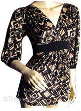 NEW Womens Empire Waist V-Neck Top 3/4 Sleeve Beige Black Geometric Pattern S