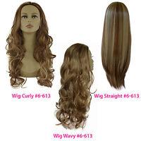 Ladies 3/4 WIG Half Fall Clip In Hair Piece Medium Brown/Blonde Mix #6/613