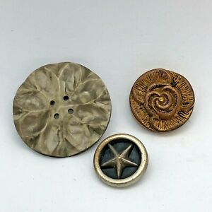 Assorted Antique Celluloid Buttons - Star ⭐️, Metalized Rose 🌹, Flower Pattern