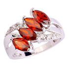 Garnet White Topaz Gemstone Fashion Jewelry Silver Women Ring Size 6 7 8 9 10 11