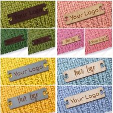 Personalised 28mm x 12mm Rectangle Faux Leather Product Tags Labels Homemade Sew