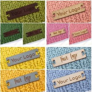 Personalised 28mm x 12mm Rectangle Faux Leather Product Tags Labels Homemade 002