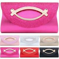 Women Sequins Clutch Bag Evening Party Prom Leather Glitter Buckle Purse Handbag