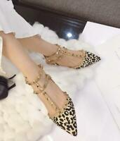 Womens Rivet Leopard Buckle T-strap Pointed Toe Slingbacks Flats Sandals SZ H727