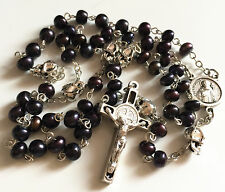 Black Real Pearl Bead & silver skull catholic Rosary Necklace crucifix cross box