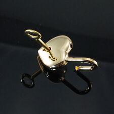 Padlock Lock Love Heart Lock  Pendant Charm Shiny Gold with key