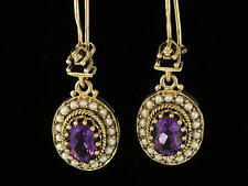 EXQUISITE 9ct Gold Natural  AMETHYST & PEARL Cluster Earrings Lever-back hooks