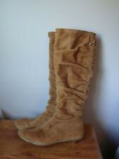 Authentic Tan Suede COLE HAAN ABINGTON Slouch Knee-high Low Heels Boots 6.5