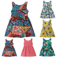 Summer Toddler Baby Girls Dress Printed Sleeveless Princess Strap Dress Sundress