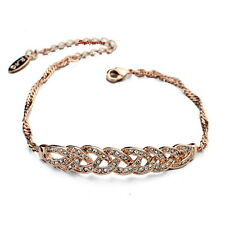 Rose Gold Filled Clear Women Twisted Bar Bracelet Made With Swarovski Crystal T7