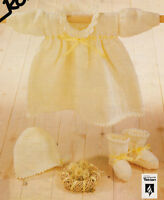 "Baby Dress/Collar Bonnet & Bootees Picot Edge  16"" - 22"" DK Knitting Pattern"