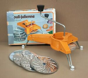 Mouli-julienne MOULINEX orange vintage + boite râpe à légumes vegetable grater