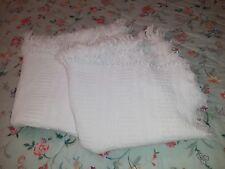 Pair of vintage White Jacquard Woven Cotton Throws - 2