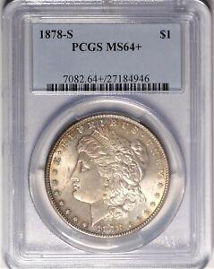 1878-S VAM-16 $1 PCGS MS64+ Near Gem Plus Uncirculated Morgan Silver Dollar Coin