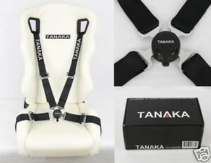 """TANAKA BLACK 4 POINT CAMLOCK QUICK RELEASE RACING SEAT BELT HARNESS 2"""" FIT DODGE"""