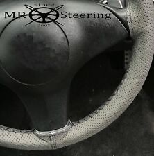 FOR VOLVO P122 S GREY PERFORATED LEATHER STEERING WHEEL COVER BLACK DOUBLE STCH